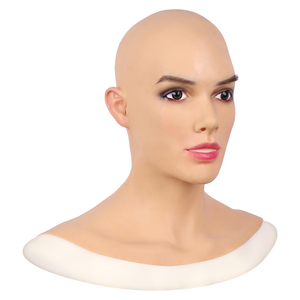 Image 3 - Soft Silicone Realistic Female Head Mask Betris Angel Face with Neck Fake Breast Forms for Crossdresser Transgender Shemale Doll