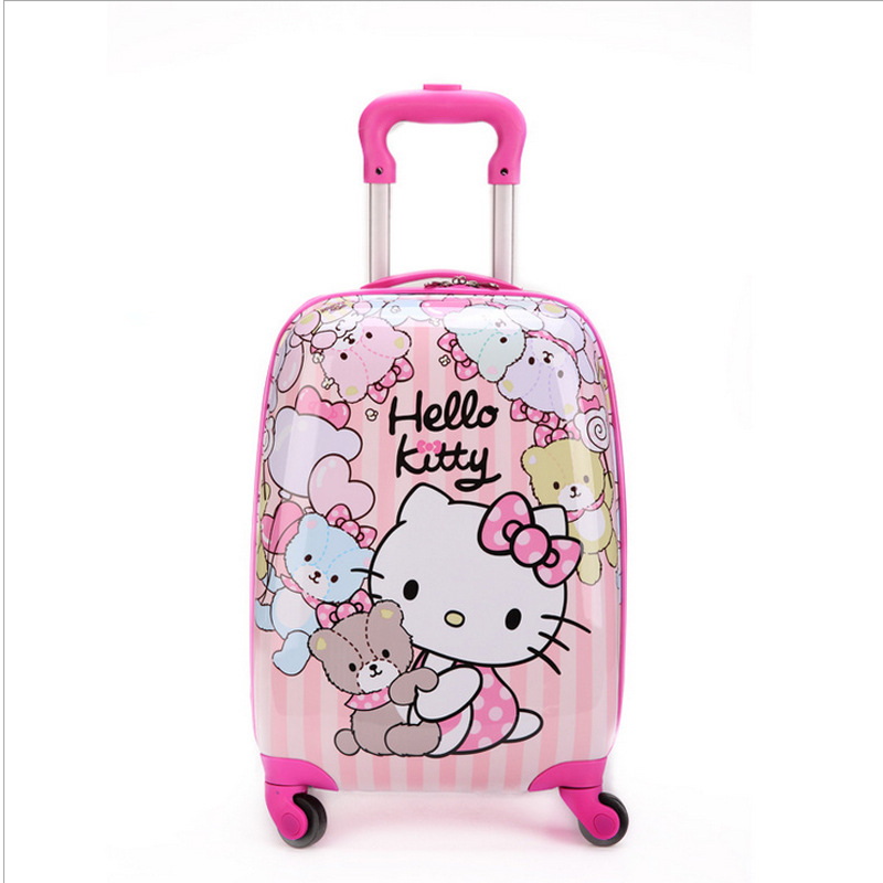 16 дюймів Kid's Lovely подорожі багажу, діти Hello Kitty візки багажу з універсальним колесом, рожевий чемодан