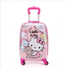 16 inch Kid's Lovely Travel Luggage, Children Hello Kitty Trolley Luggage With Universal Wheel, Pink Suitcase(China)