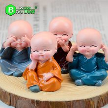 4 pcs/lot Small Buddha Statue Monk Resin Figurine Crafts Home Decorative Ornaments Miniatures Crafts Creative