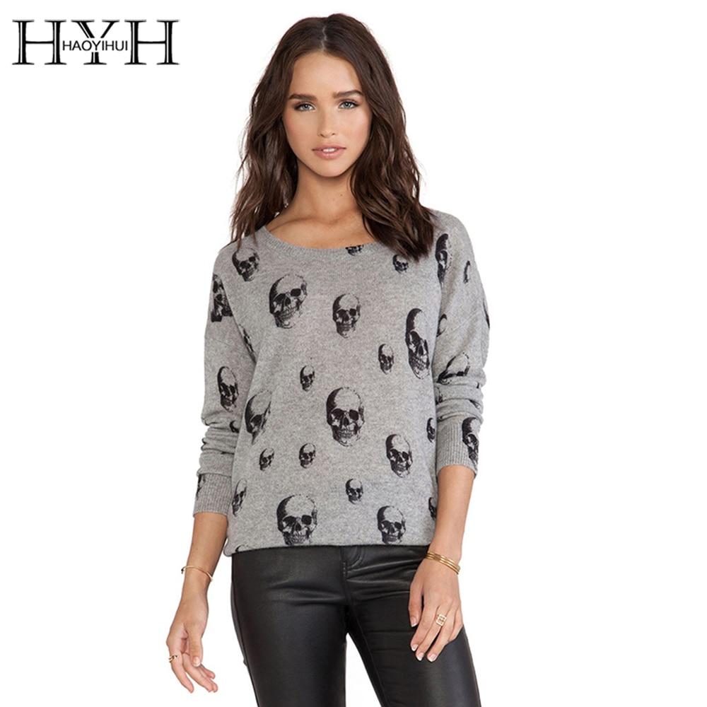 HYH HAOYIHUI 2017 Brand New Autumn Women Fashion Soft Streetwear Loose Personality Sweater Print Skulls Warm Long Sleeve Sweater