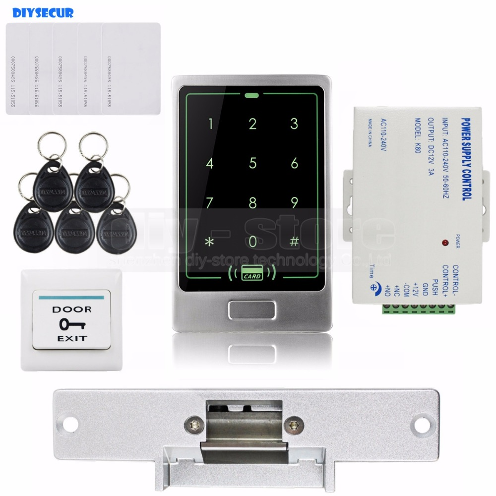 DIYSECUR 125KHz RFID Touch Reader Password Keypad Door Access Control Security System Kit + Strike Lock C20 waterproof touch keypad card reader for rfid access control system card reader with wg26 for home security f1688a