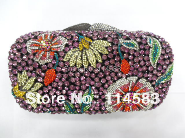 ФОТО 8122 - Tc Multi-color Floral Flower Crystal Bridal Party Night Hollow Metal Evening purse clutch bag handbag