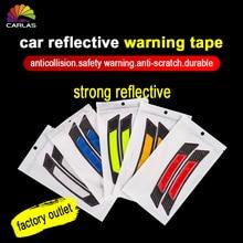 2 unids/pack de pegatina de parachoques de puerta de coche, señal de seguridad de advertencia, anticolisión, tira antiarañazos lateral de coche, tira reflectante de coche