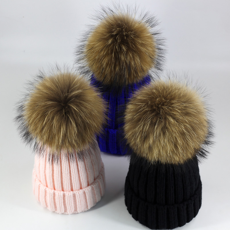 Spring Winter Knitted Real Fur Hat Women Thicken Beanies Hats with Big Raccoon Fur Removable Pom poms Knitting Beanie Caps ZZ-01