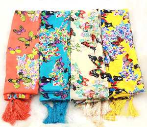 new arrival 2017 spring and autumn chiffon women scarf polyester butterfly design long soft silk shawl hijab scarf