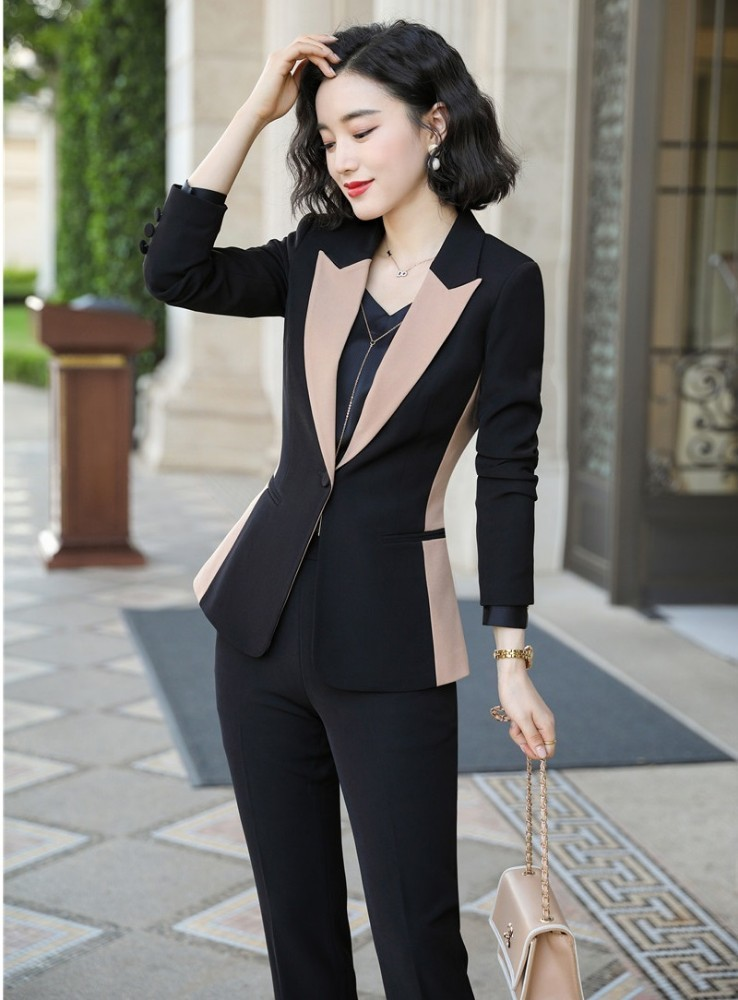 Formal Uniform Designs Pantsuits With Pants And Jackets Coat Ladies Office Professional OL Autumn Winter Blazers Pantsuits