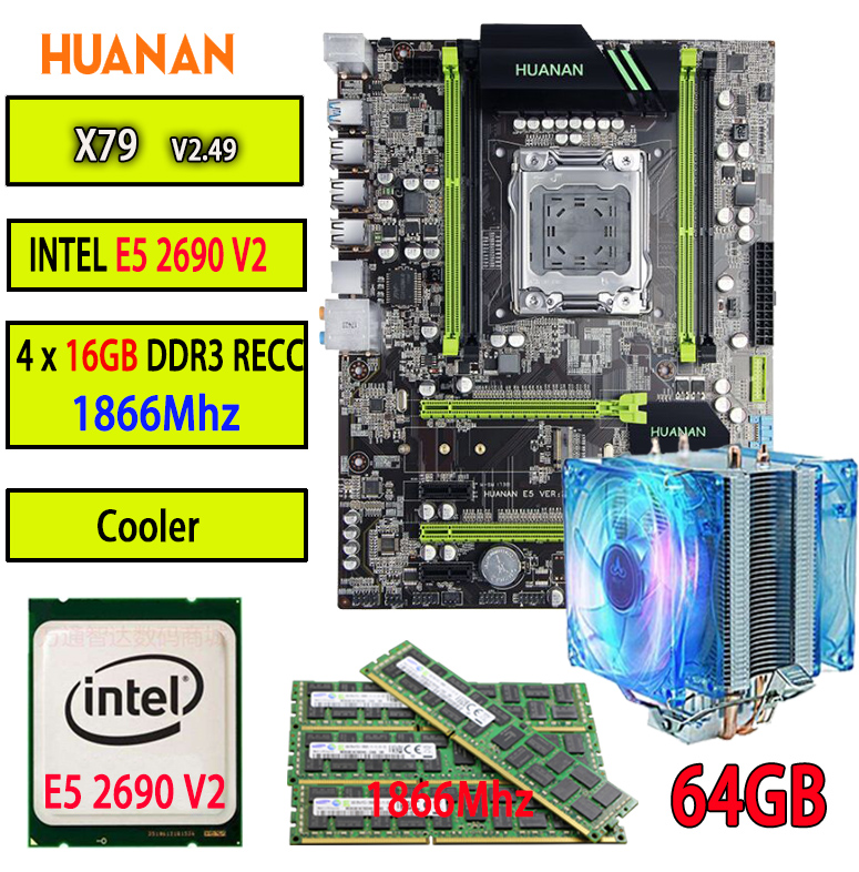 HUANAN V2.49 X79 motherboard LGA2011 ATX combos cooler E5 2690 V2 SR1A5 4 x 16G 64GB 1866Mhz USB3.0 SATA3 PCI-E NVME M.2 SSD термосумка thermos e5 24 can cooler 19л [555618] лайм