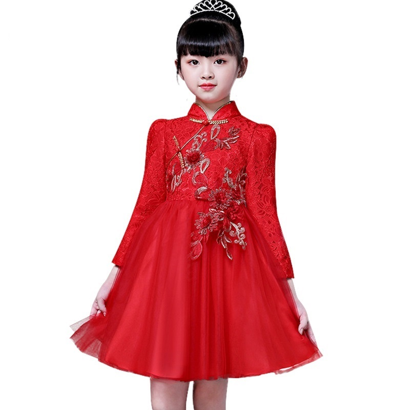 все цены на Chinese style red new year cheongsam children's dress girls stand collar applique lace princess dress autumn long sleeve dress
