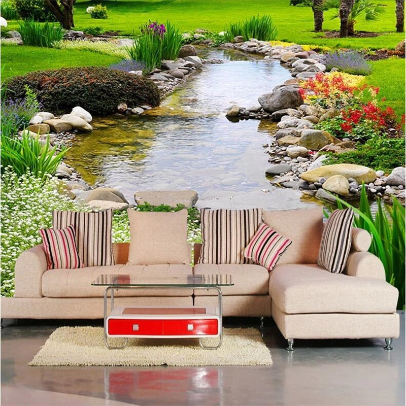 Custom photo wallpaper Large wall painting background wall paper the living room TV Nature park creek grass  3d mural wallpaper spring abundant flowers rich large mural wallpaper living room bedroom wallpaper painting tv background wall 3d wallpaper