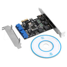 2 Port 19Pin USB 3.0 Card PCI-e to Internal 20Pin Male Ports Adapter PCI Express #4XFC# Drop Shipping