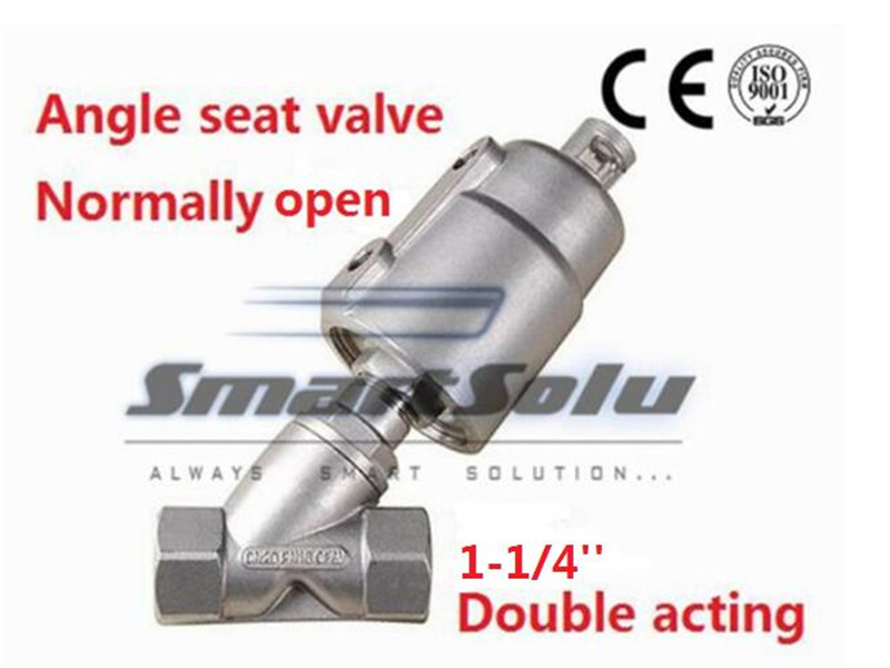 Free shipping Pneumatic seat actuator double cheap steam water stainless steel angle valve DN32 1 1/4 inch normally open for air
