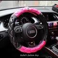 Hot sale DAD diamante personalizado coroa trança rosa da menina das mulheres tampa da roda de direcção do carro 4 temporada universal 38 cm carro acessórios