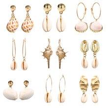 2019 Bohemian Sea Shell Conch Metal Drop Earrings For Women Dangle Earrings Fashion Female Shell Summer Jewelry Gifts цена