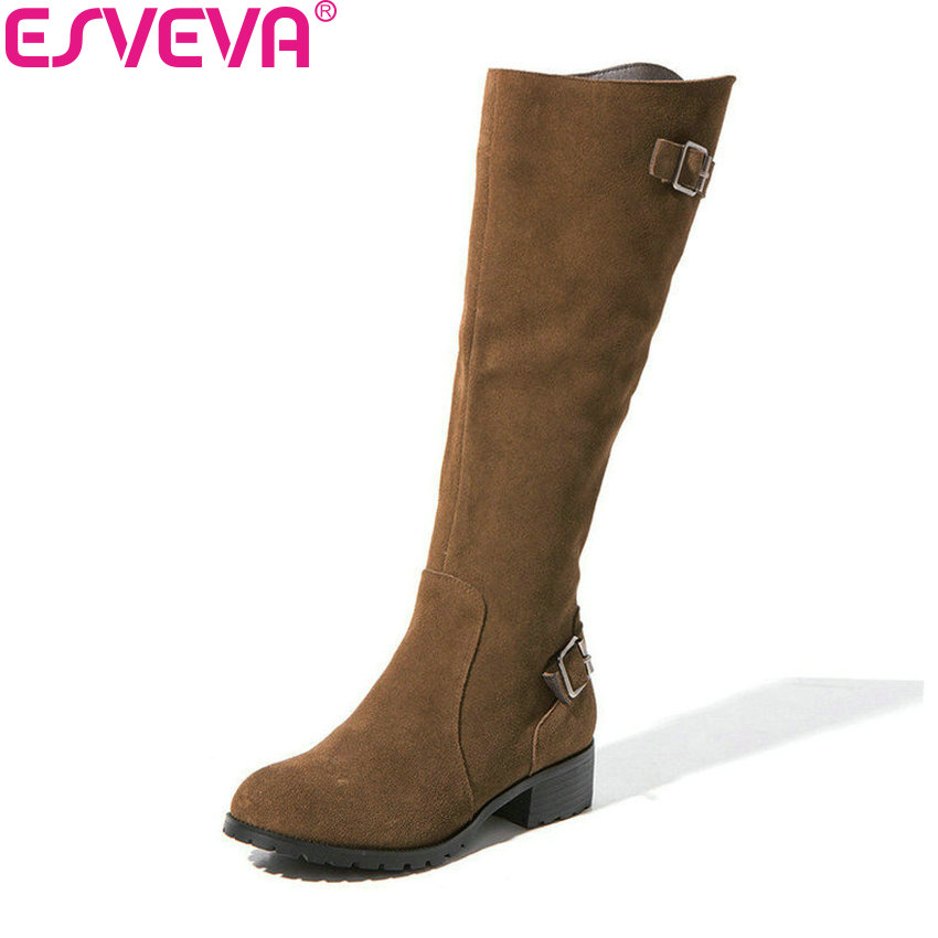 ESVEVA 2019 Women Shoes Round Toe Short Plush Low Heels Winter Boots Square Heels Knee High Boots Zipper Autumn Shoes Size 34-40 esveva 2018 chunky women boots short plush square heels ankle boots round toe zippers spring and autumn ladies shoes size 34 43