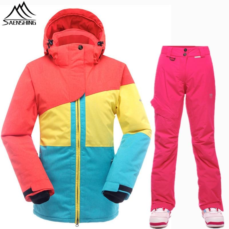 SAENSHING Ski Suit Women Waterproof 10K Snowboard Jacket Ski Pants Breathable Thermal Skiing Snowboarding Suits Winter Snow Sets