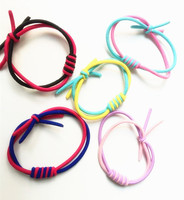100pcs Lot New Fashion Elastic Hair Geometric Headwear Double Color Ring Hand Woven Pile Girls Accessories
