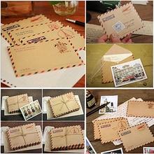 10 Uds sobres Vintage de papel Kraft Mini sobres de boda sobre de invitación regalo de oficina estacionario suministros 9,6*7,3 cm