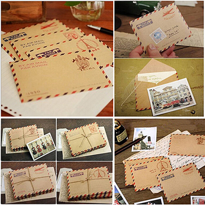 10 Pcs Vintage Kraft Envelope Mini Paper Envelopes Wedding Invitation Envelope Office Stationery Gift Supplies 9.6*7.3cm