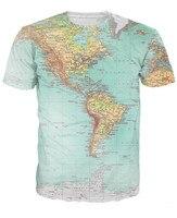 Mapa świata Koszulka Miejskie Wątki Biodrówki retro globe obraz Żywe Americas sexy 3d t shirt Z Krótkim Rękawem koszulki Mężczyźni