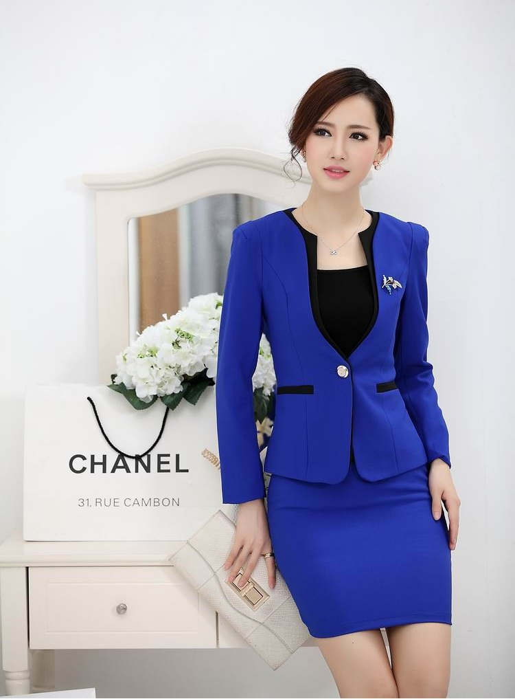 Formal Ladies Office Uniform Designs Women Suits with Skirt and