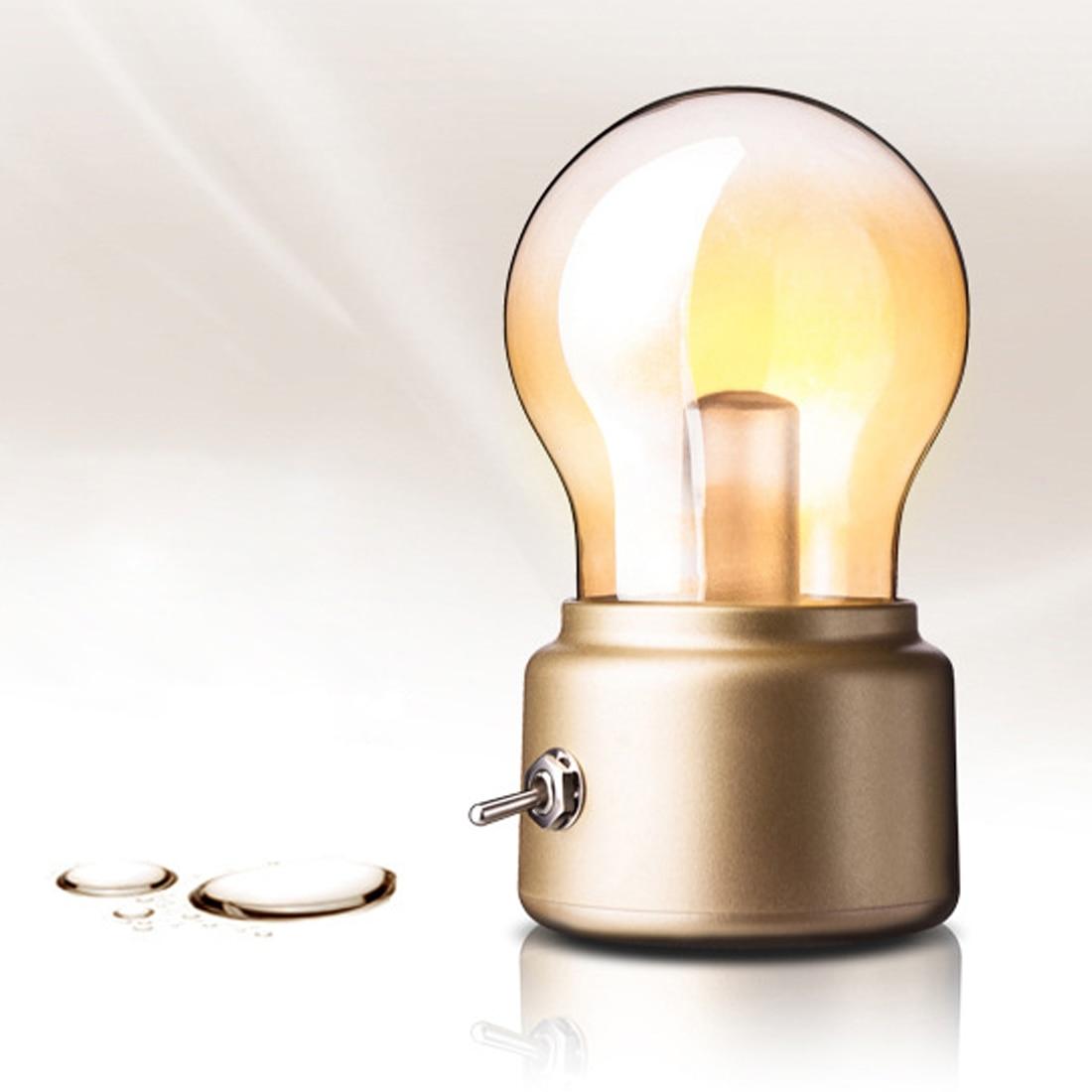 USB DC5V Rechargeable Battery Mood Luminaire Writing Desk Table Lights Vintage LED Bulb Night Light Retro Portable Bedside Lamp