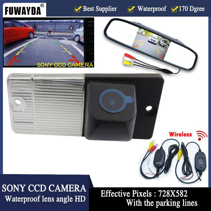 Caméra de vue arrière de voiture CCD couleur sans fil FUWAYDA pour KIA SORENTO SPORTAGE, avec moniteur de rétroviseur 4.3 pouces
