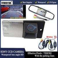 FUWAYDA Wireless Color CCD Car Rear View Camera for KIA SORENTO SPORTAGE,with 4.3 Inch Rear view Mirror Monitor