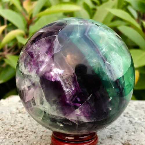 Natural colored fluorite hand polished quartz ball for home decoration in Stones from Home Garden
