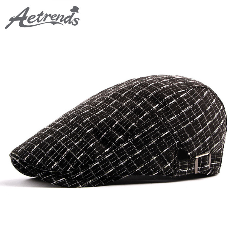 AETRENDS  2018 New Cotton Berets Caps Vintage Plaid Beret Hats for Men  Women 8041f7673e