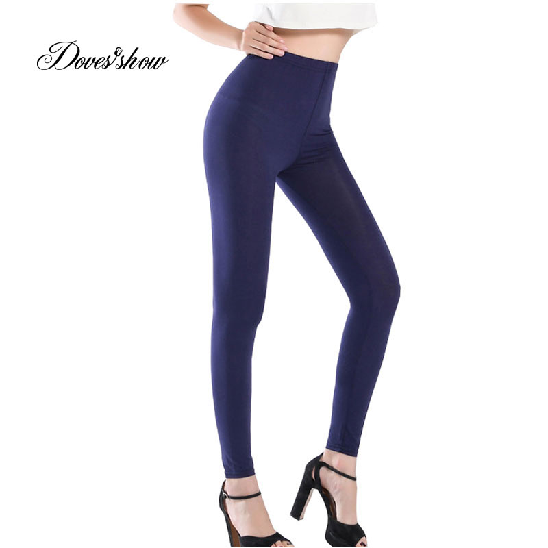 Candy Color Stretch Modal   Leggings   Women Plus size Fitness Push Up Ankle length Pants Elastic Gothic Ladies   Leggings   Trousers
