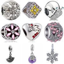 European Luxurious Snail Queen Cat Claw Snowflake House Dog Heart Beads Fit Original Pandora Charms for Women DIY Jewelry(China)