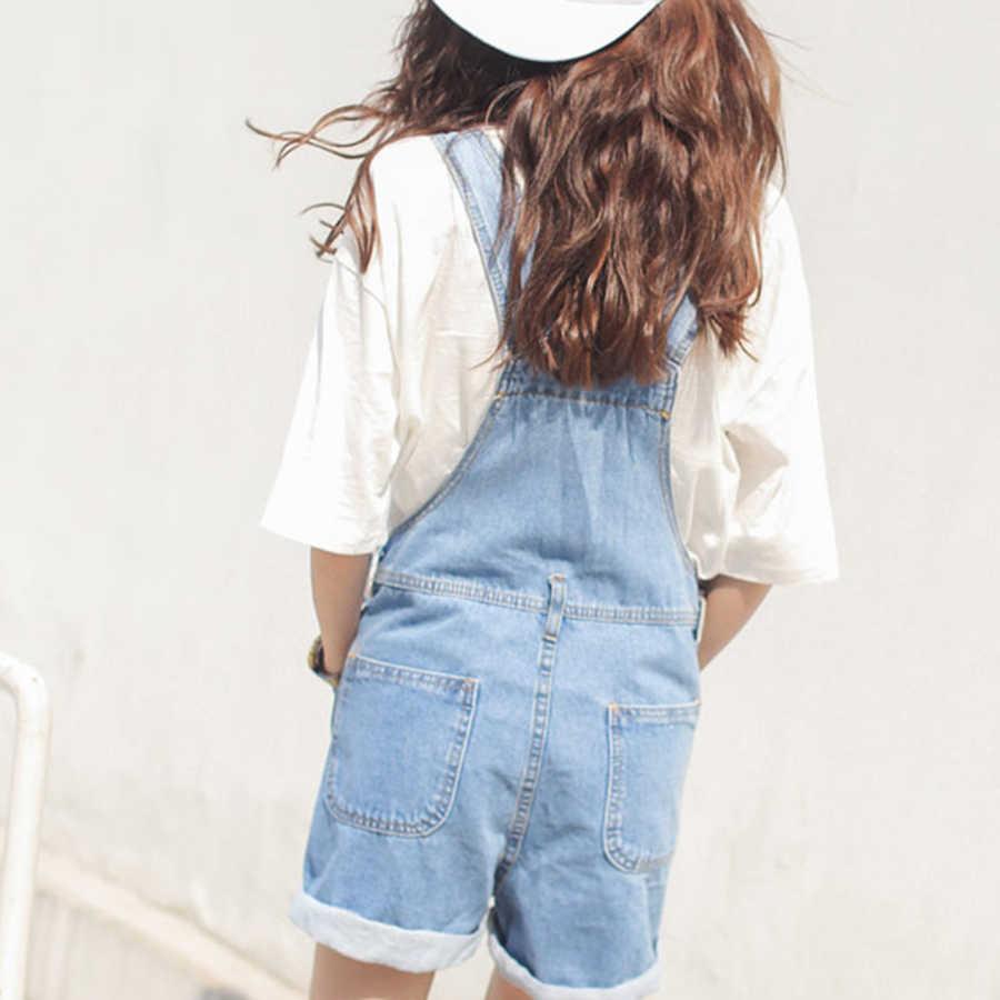 Модный простой джинсовые комбинезон женщин 2018 Повседневный свободный джемпер комбинезон женский корейский стиль колледжа Высокая талия Синий боди Feminino