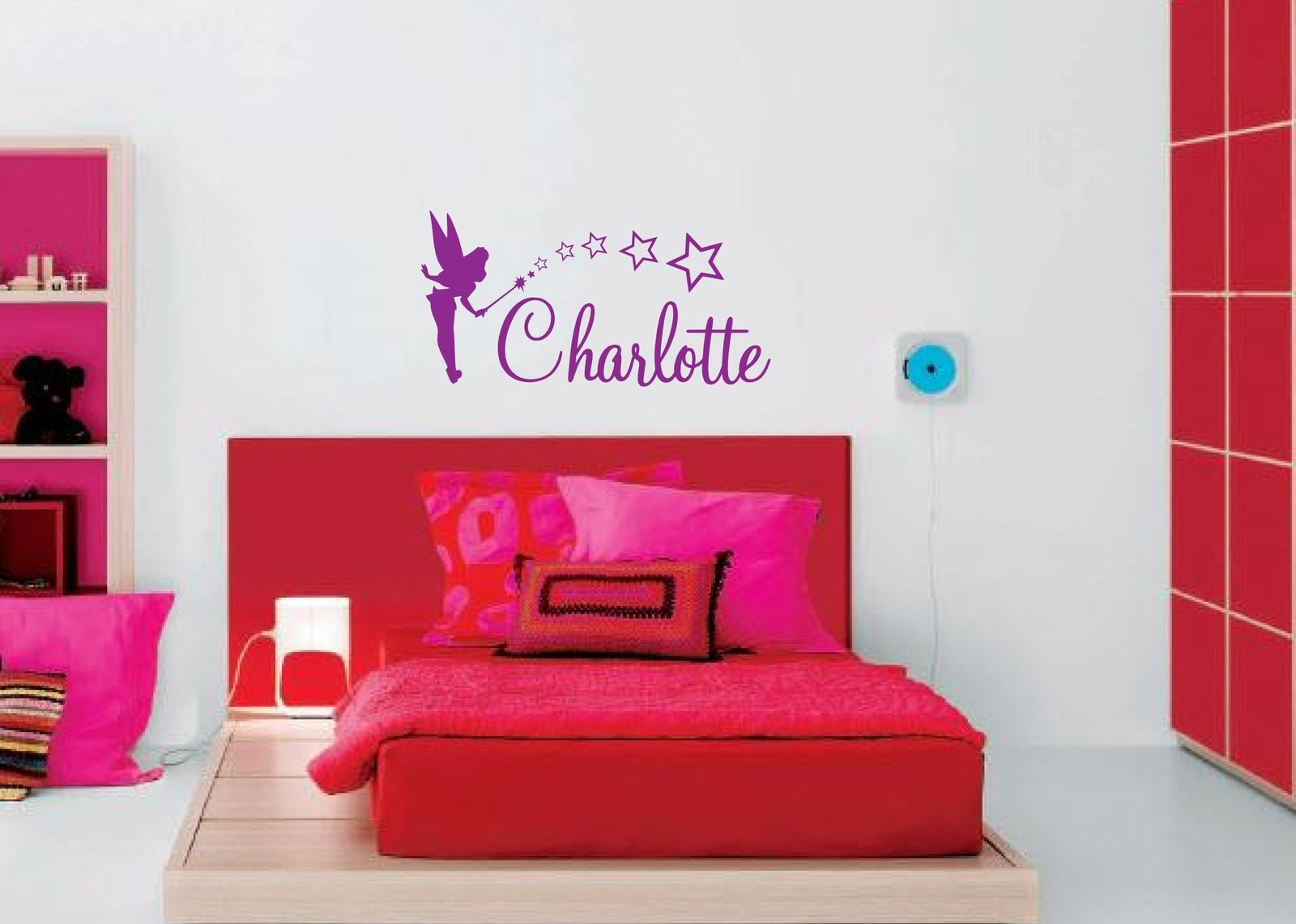Personalised Fairy Vinyl Wall Art Sticker Any Name Girls Kids Bedroom Decal