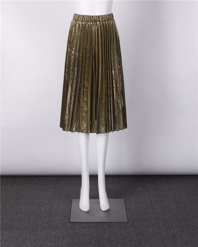 Green Gold Black Silver Sequined Pleated High Waist Midi Skirt