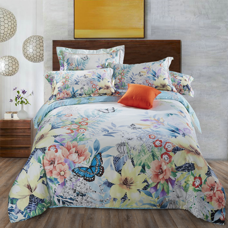 100% Cotton soft satin Silky Bedding sets Flower and butterfly Duvet cover set Bed sheet Pillowcases King Queen size 4Pcs100% Cotton soft satin Silky Bedding sets Flower and butterfly Duvet cover set Bed sheet Pillowcases King Queen size 4Pcs
