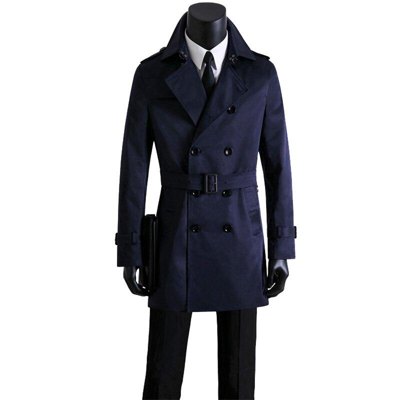 Мужские длинные тренчи, Мужская двубортная одежда, мужской Тренч, весна и осень размера плюс, Повседневная приталенная одежда цвета хаки - 2