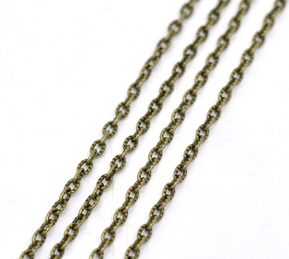 DoreenBeads Antique Bronze Textured Link-Opened Cable Chain Findings 4x2.5mm, Sold Per Packet Of 3M 2015 New