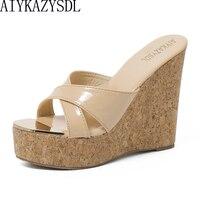 AIYKAZYSDL Women Slippers Sandals Wedge Heel Thick Bottom Platform Flip Flop Cross Strap Ultra High Heel Wooded Mule Slide Shoes