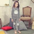Algodón Niños Pijamas Totoro Pijama de La Ropa de Moda Infantil Para Niños de Carácter Trajes Niños o-cuello de la Primavera de Invierno Niñas Ropa de Dormir