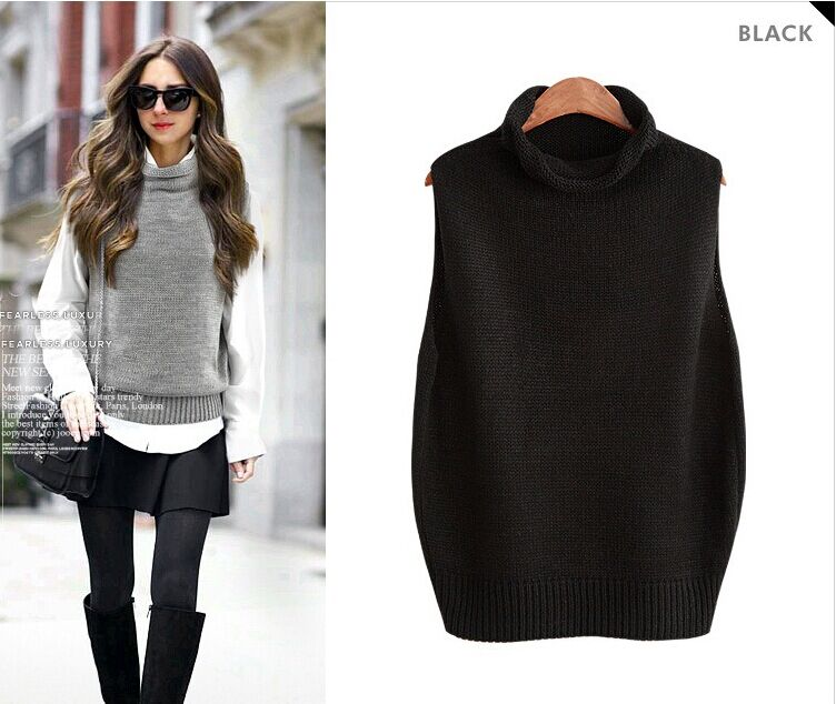 2016 New attumn Winter Women vest Fashion Turtleneck Loose Women ...