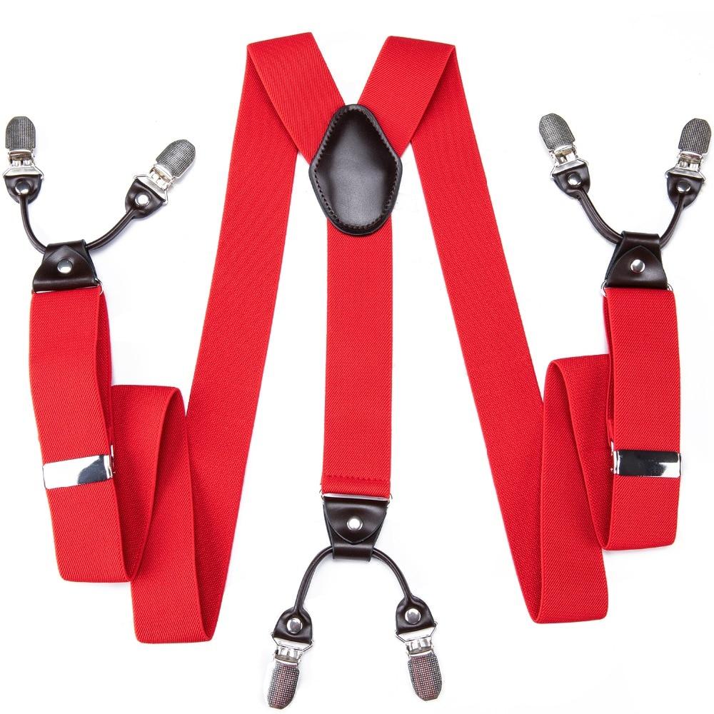 DiBanGu Brand Designer Red Solid Suspenders 6 Clips Braces Elastic Adjustable Suspenders Sling Unisex Braces Suspensorio BD-010