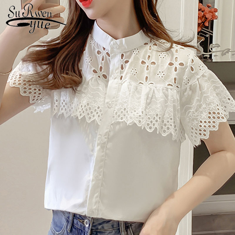 Fashion women tops and   blouses   2019 ladies tops lace   blouse     shirt   white   shirt     shirts   short sleeve   shirt   Solid Stand 4127 50