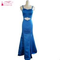 مثير حورية البحر فستان العروسة 2017 الملكي الأزرق تألق كريستال الجبهة سبليت الرسمي ثوب جديد نمط الربيع الصيف البلد اللباس Z1288