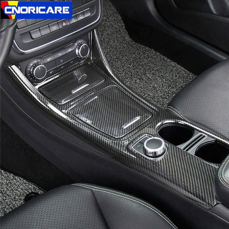 Carbon Fiber Style Car Center Console Water Cup Holder Panel Decoration ABS 3pcs For Mercedes Benz