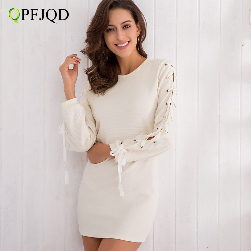 QPFJQD Casual Cotton Knitted Dresses Mini Short Vestidos 2018 Elegant Lace Up Chic Bandage Long Sleeve Slim Bodycon Women Dress
