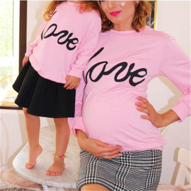 Moeder en Dochter Liefde hart Sweater Trui Jumper trui Tops Hoodie Familie Bijpassende Kleding Lange Mouw Sweatshirt Top