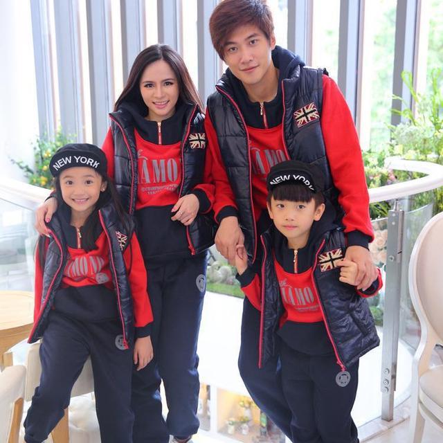 Осень и зима осень зима подумайте три части верхняя одежда одежда мать и дочь соответствующие детей семья одежда