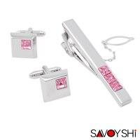 SAVOYSHI Cuff links necktie clip for tie High Quality tie pin for men Pink Crystal tie bars cufflinks tie clip set Free Shipping