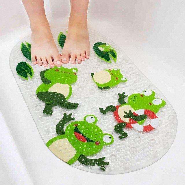 69x38CM Cute Carton Frog Kids Non-Slip Bath Mats Anti-Bacterial Shower Mats Powerful Suction Cup Gripping BPA Free Non-Toxic Mat